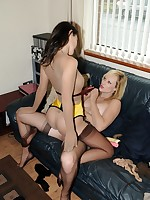 young lesbos enjoy nylon loving