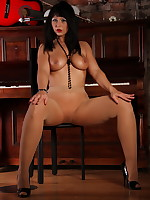 Gorgeous Pantyhose Diva in a black dress