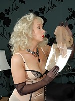 playful blonde in girdle and seams