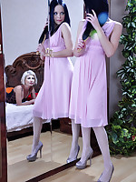 Stunning lesbian beauties clad in silky soft tights go for a lickety-split
