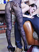 Ponytailed hottie getting her black flower pattern tights jizzed by a stud